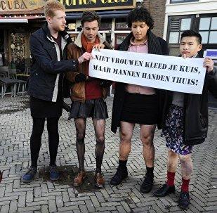 Men in skirts. Amsterdam