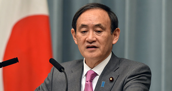 Japan's Chief Cabinet Secretary Yoshihide Suga speaks at a press conference at the prime minister's official residence in Tokyo on March 19, 2015