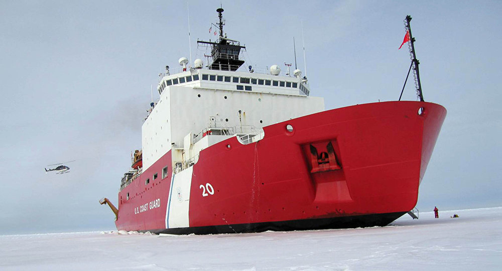 US Coast Guard handout file image received 05 August, 2007, shows the 420-foot (128m) Coast Guard cutter Healy the largest and most technically advanced icebreaker in the US