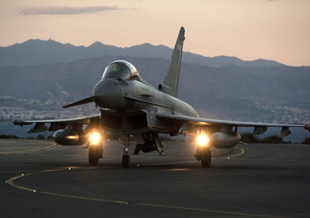 A British Royal Air Force Eurofighter Typhoon fighter jet.