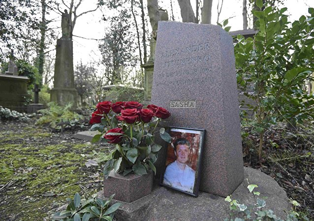 The grave of murdered ex-KGB agent Alexander Litvinenko is seen at Highgate Cemetery in London, Britain