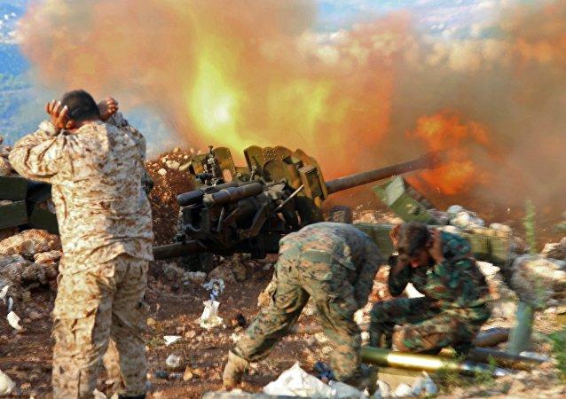 Servicemen of the Syrian army near the village of Salma, Latakia Province