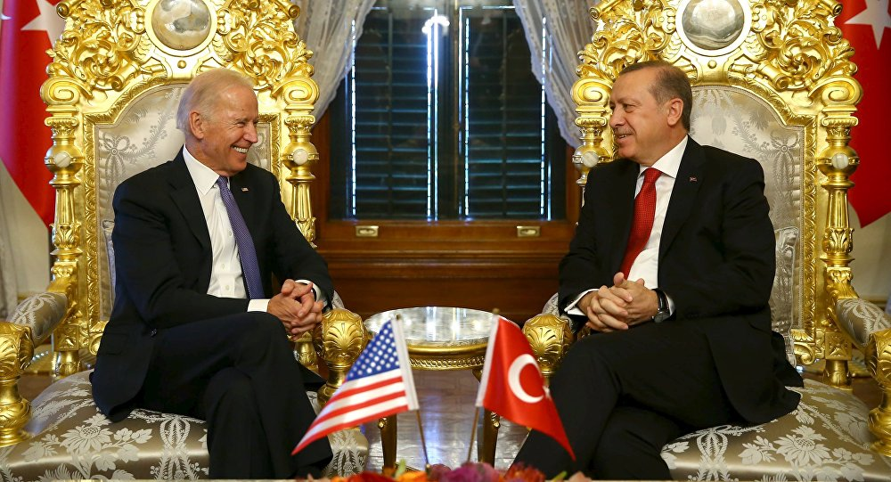 Turkish President Tayyip Erdogan (R) meets with U.S. Vice President Joe Biden in Istanbul, Turkey January 23, 2016, in this handout photo provided by the Presidential Palace