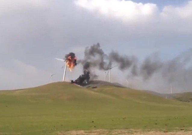 Wind turbine is on fire