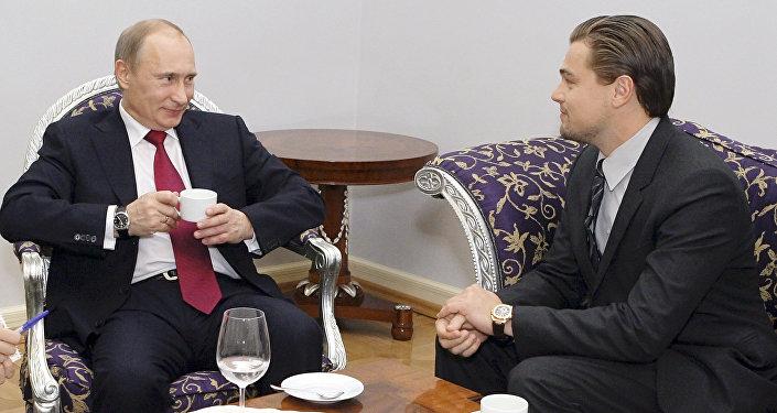 Vladimir Putin meets with Leonardo DiCaprio in St.Petersburg