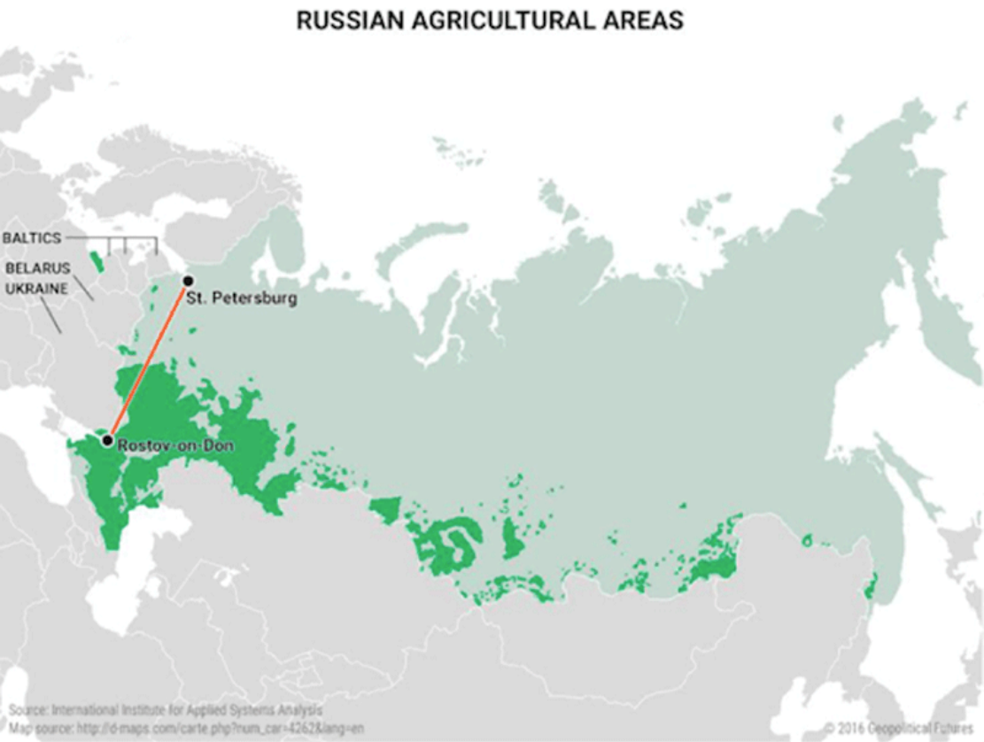 Russian agriculture is in the southwest