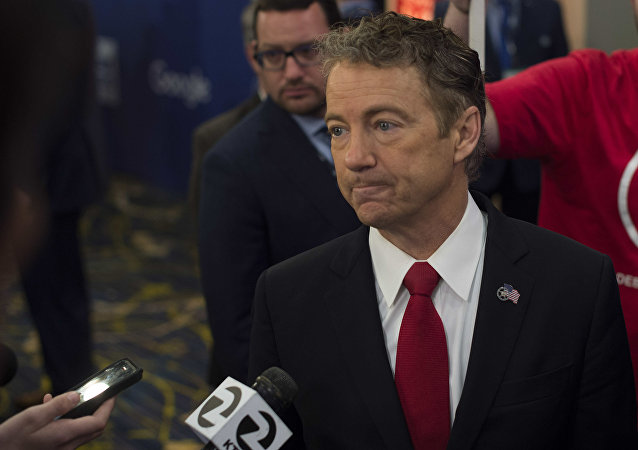 Republican Presidential candidate Senator Rand Paul speaks to the media after the Republican Presidential debate sponsored by Fox News at the Iowa Events Center in Des Moines, Iowa on January 28, 2016