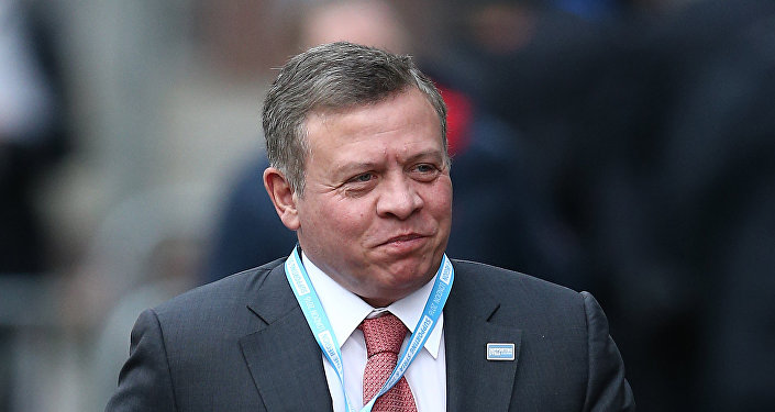 Jordan's King Abdullah II arrives at the QEII centre in central London on February 4, 2016, to attend a donor conference entitled 'Supporting Syria & The Region'