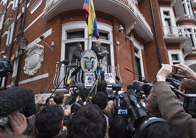 Julian Assange takes part in news conference via video link from Ecuadoran Embassy in London