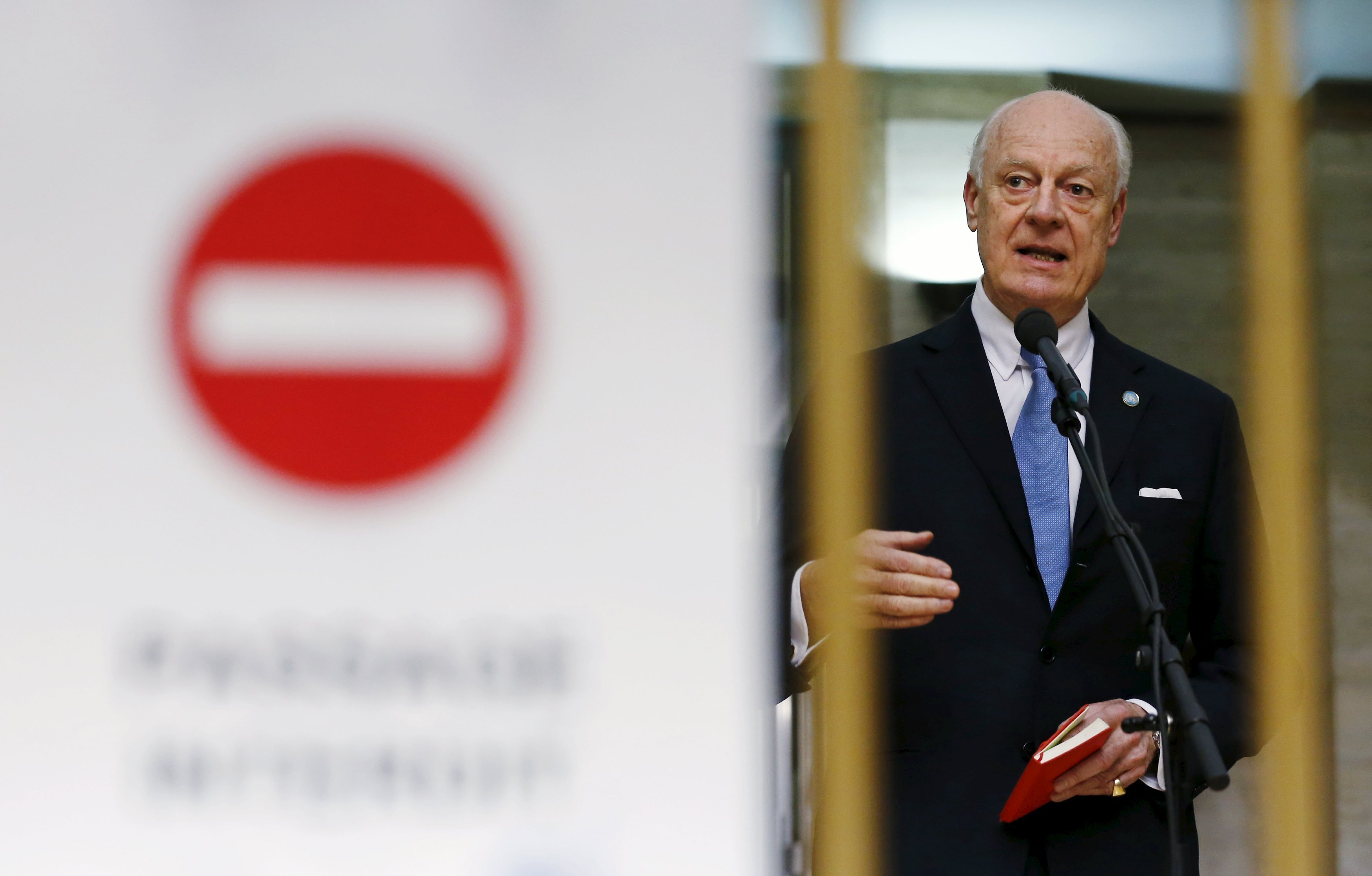 U.N. mediator for Syria Staffan de Mistura delivers a statement after the opening of the Syrian peace talks at the United Nations European headquarters in Geneva, Switzerland, January 29, 2016