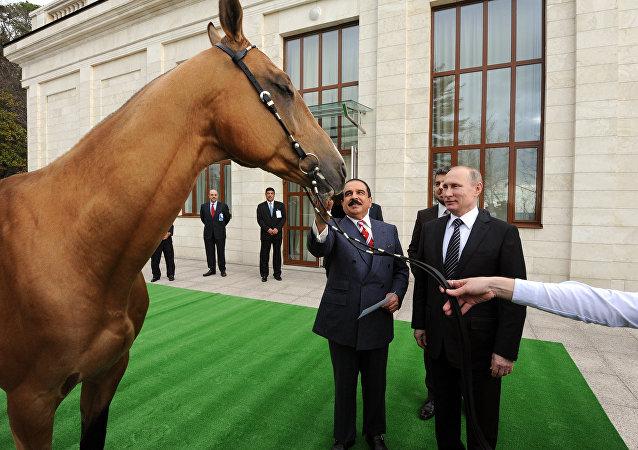 Russian President Vladimir Putin meets with King of Bahrain Hamad bin Isa Al Khalifa