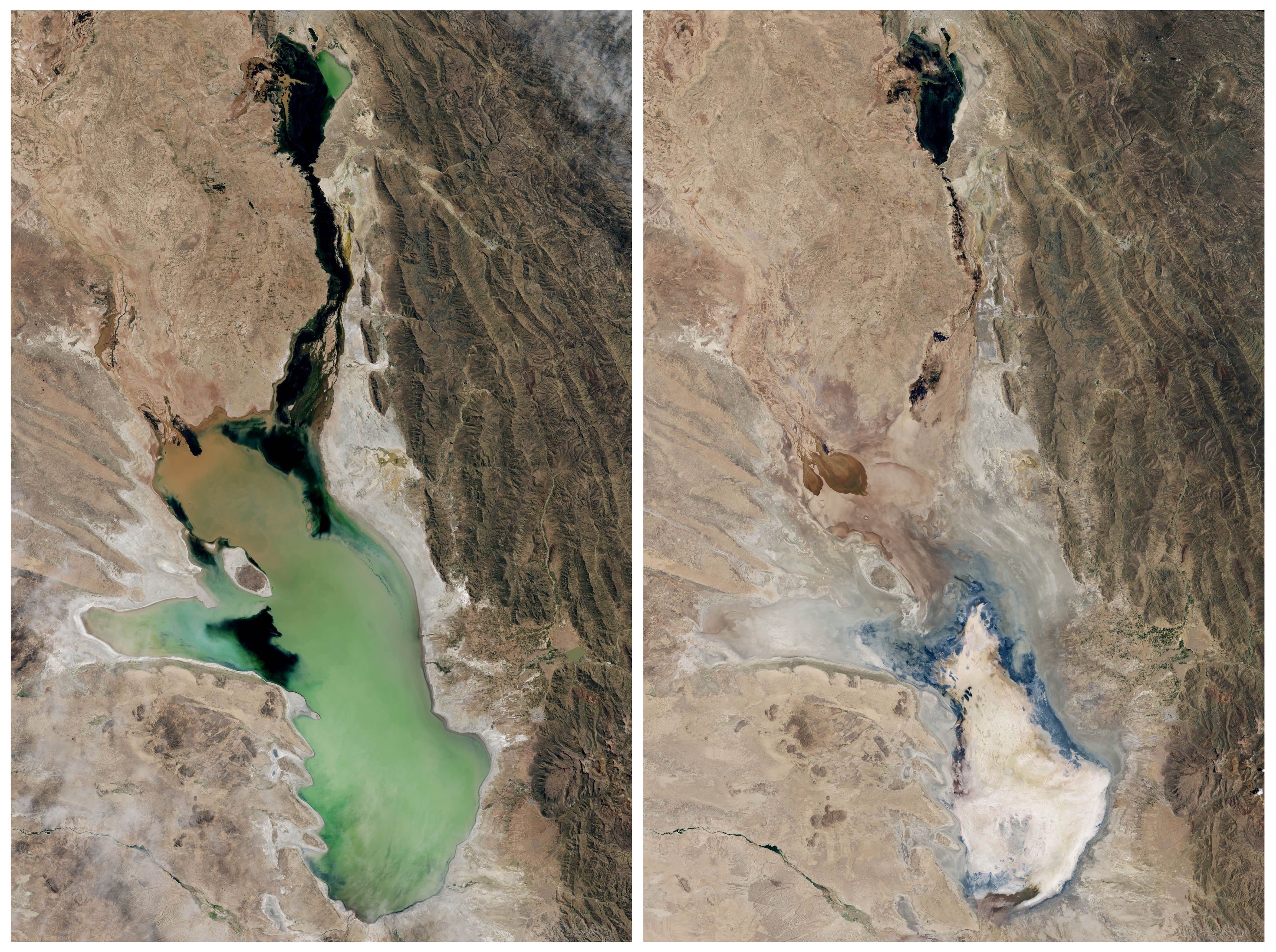 This photo combo of satellite images provided by NASA Earth Observatory shows Lake Poopo filled with water on April, 12, 2013, left, and almost dry on Jan. 15, 2016, right, in Bolivia