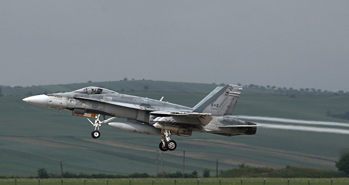 This file photo taken on May 28, 2014 shows a fighter type F-18 Hornet of the Canadian Royal Air Force taking off from the military airbase at Campia Turzii. Canada will end air strikes targeting the Islamic State group in Iraq and Syria and bring home its six fighter jets on February 22, the government announced February 8, 2016