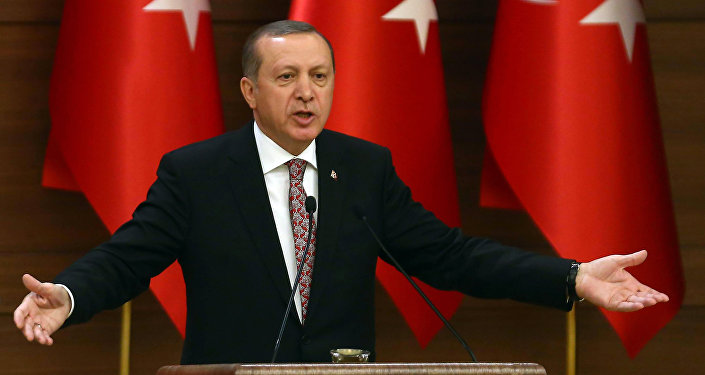 Turkey's Recep Tayyip Erdogan delivers a speech.