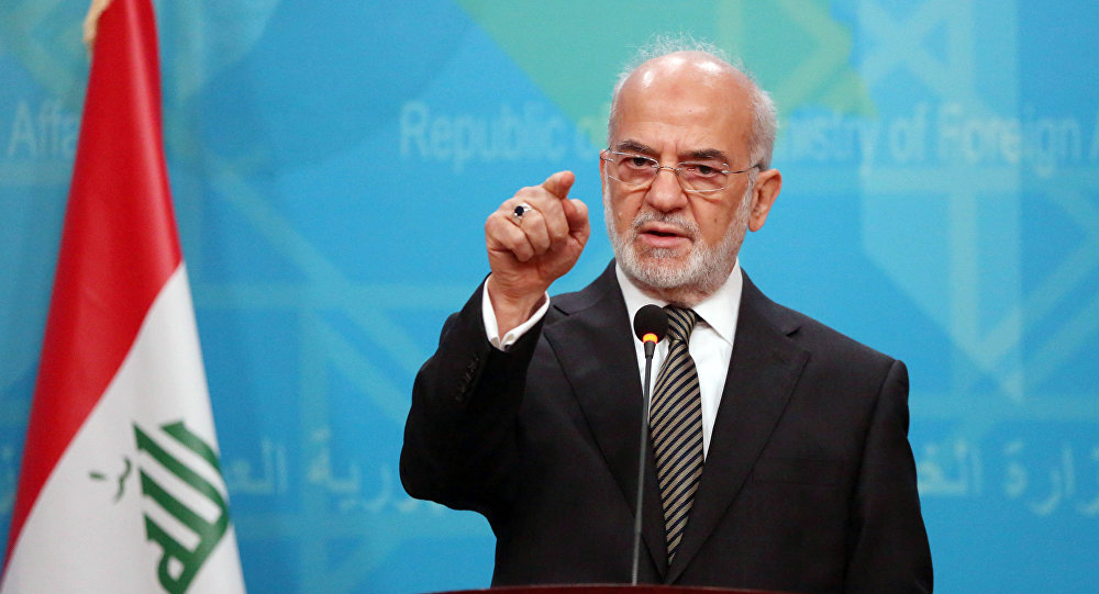 Iraqi Foreign Minister Ibrahim al-Jaafari speaks during a news conference in Baghdad, Iraq, Wednesday, Dec. 30, 2015