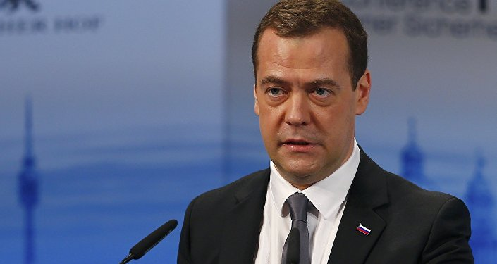 Russian Prime Minister Dmitry Medvedev delivers a speech at the Munich Security Conference in Munich, Germany, February 13, 2016