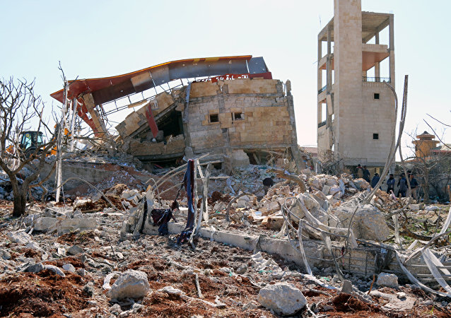 Rubble of a hospital supported by Doctors Without Borders (MSF) near Maaret al-Numan, in Syria's northern province of Idlib.