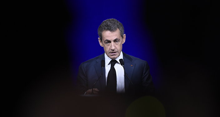 French right-wing Les Republicains (LR) party President, Nicolas Sarkozy delivers a speech during the LR National Council on February 14, 2016 in Paris.