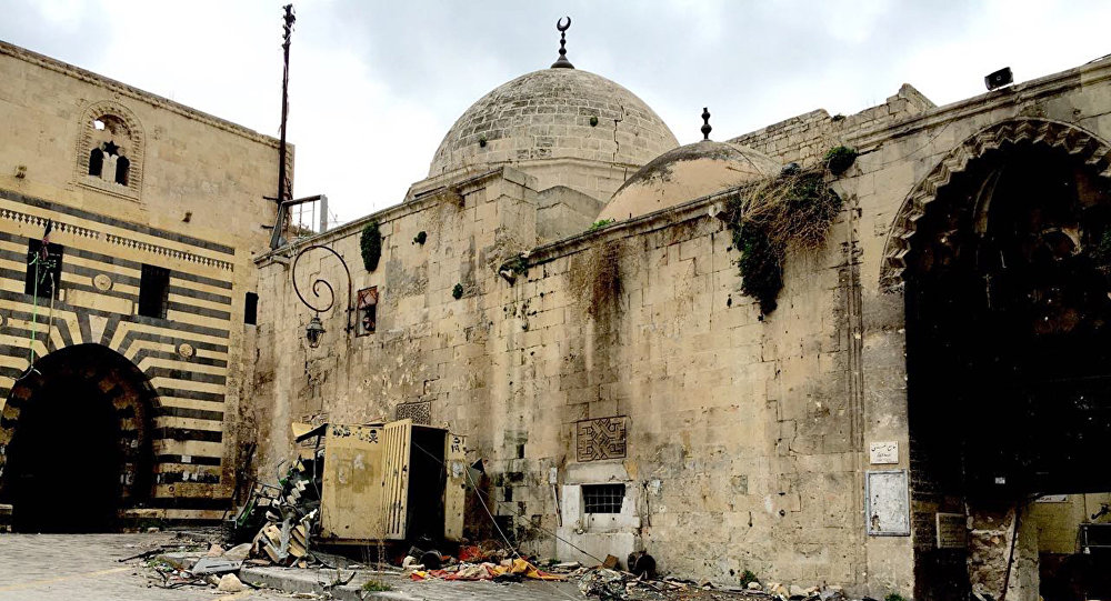Ancient mosque in the Old Town of Aleppo.
