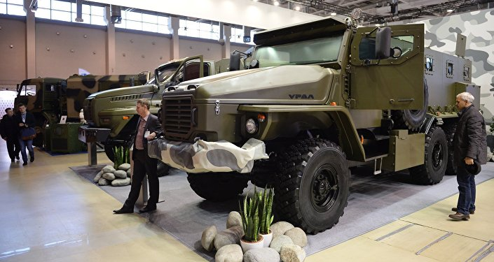 Ural-VV armored car displayed at Interpolitex 2015.