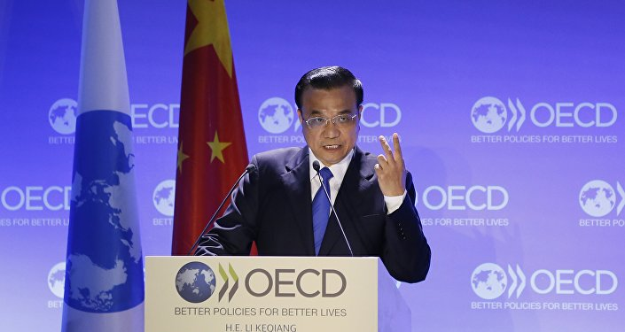 China's Prime Minister Li Keqiang delivers a speech at the OECD (Organisation for Economic Co-operation and Development)