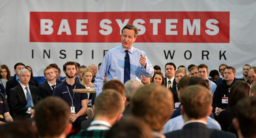 UK PM David Cameron meets apprentices at BAE Systems.
