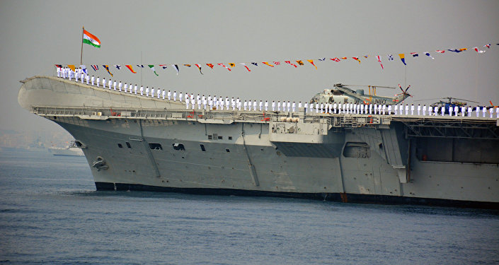 Indian Navy personnel stand on the INS Viraat, a centaur-class aircraft carrier (File)