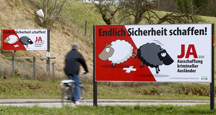 Posters of Swiss People's Party (SVP) demanding to deport criminal foreigners are displayed beside a road in Adliswil, Switzerland February 11, 2016