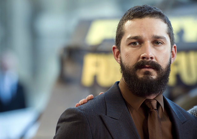 US actor Shia LaBeouf poses during a photocall for the film Fury, on October 18, 2014 in Paris.