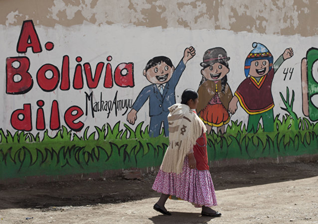 An Aymara woman walks past a mural that reads in Spanish Tell Bolivia Yes, in favor of President Evo Morales, in El Alto, Bolivia, Saturday, Feb. 20, 2016