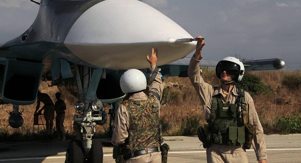 Russian war planes at Hmeymim base in Syria