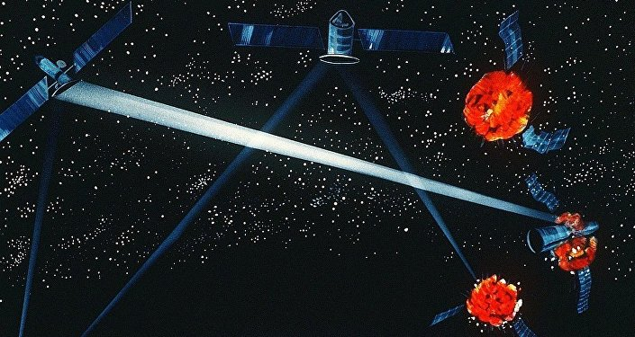 An artist's concept of a ground / space-based hybrid laser weapon, 1984