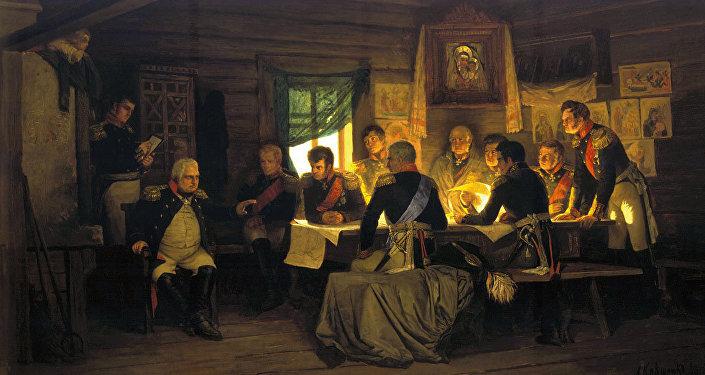 Kutuzov at the historic Fili conference, deciding to open Moscow to Napoleon. Painting by Aleksey Kivshenko