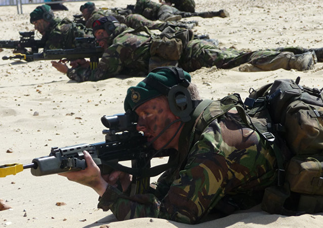 Royal Marine Commando Display Team at Bournemouth Air Festival