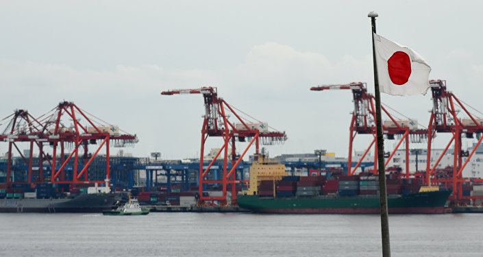 A Japanese national flag is seen in the foreground as international freighters are docked in Tokyo port on June 8, 2015