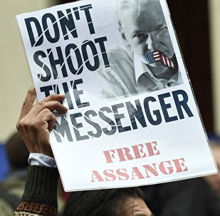 A supporter holds up a poster of WikiLeaks founder Julian Assange outside the Ecuadorian embassy in central London, Britain February 5, 2016.
