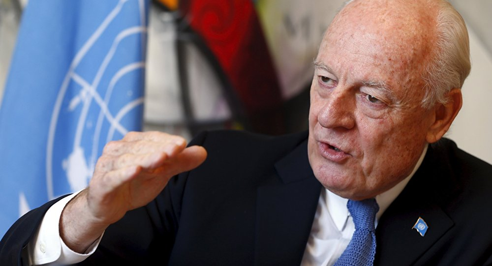 U.N. mediator for Syria, Staffan de Mistura talks to Reuters during an interview at the U.N. in Geneva, Switzerland