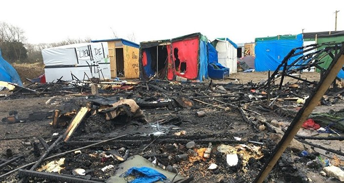 Jungle migrant camp in the French northern port city of Calais