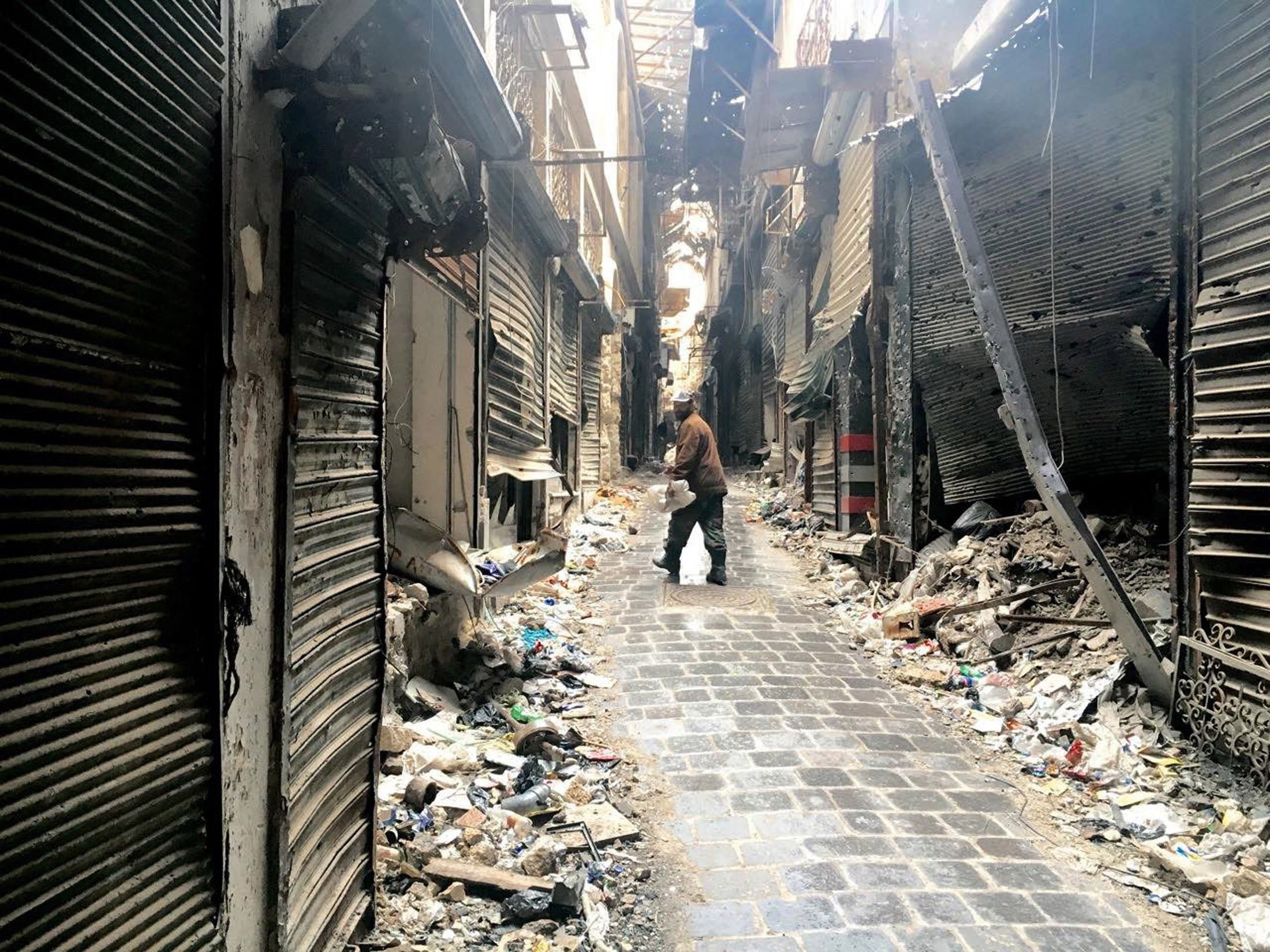 Destruction in the Old Town of Aleppo.