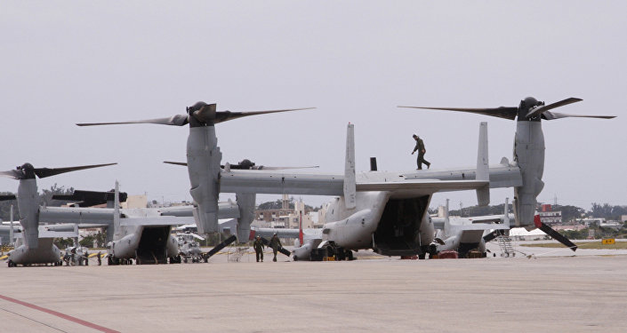 The new MV-22 Ospreys are seen at Marine Corps Air Station Futenma in Ginowan, Okinawa.