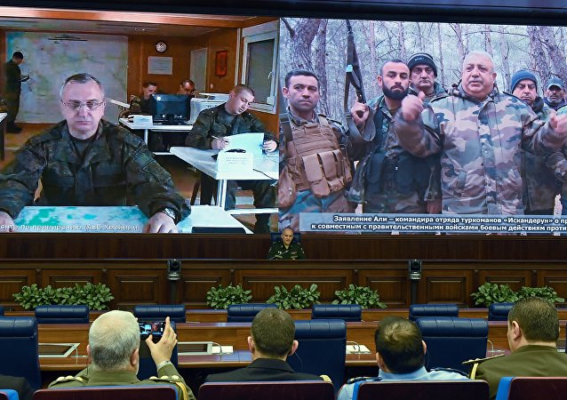 Sergei Rudskoi (C), a senior representative of the General Staff of the Russian Armed Forces, holds a briefing in Moscow on February 27, 2016