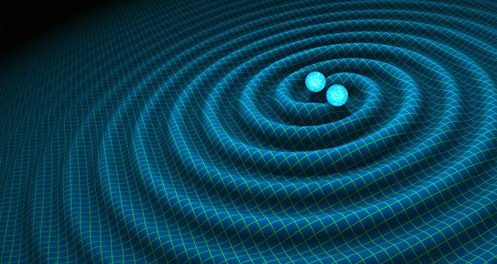 An artist's impression of gravitational waves generated by binary neutron stars