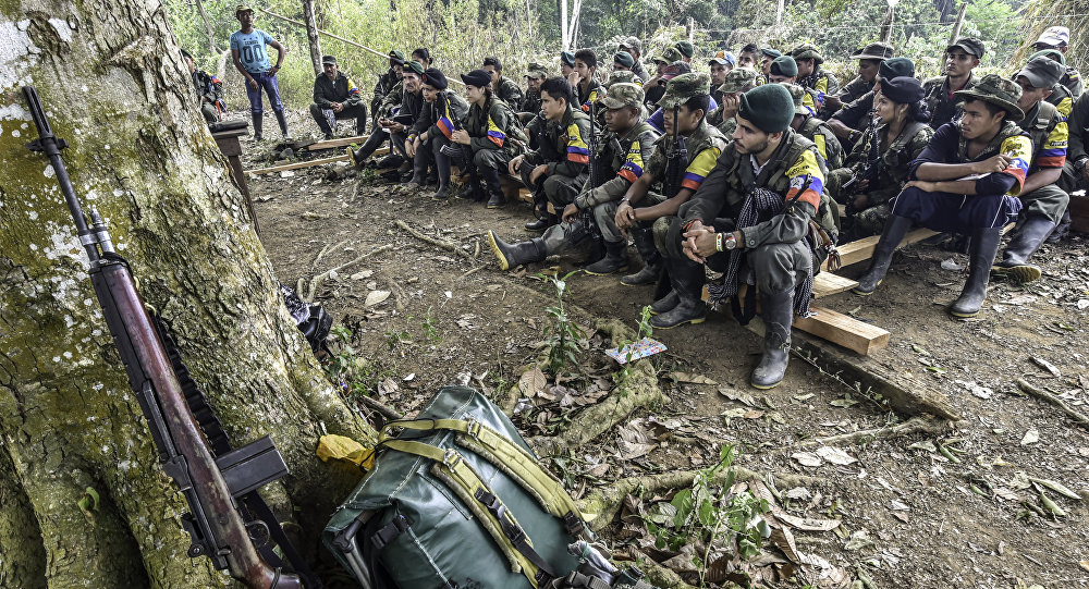 Revolutionary Armed Forces of Colombia (FARC) guerrillas listen during a class on the peace process between the Colombian government and their force, at a camp in the Colombian mountains. (File)