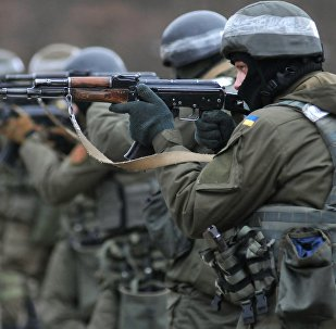 Ukraine's National Guard soldiers during combat training developed by NATO at a training ground in the Zolochevsky District, Lviv Region.