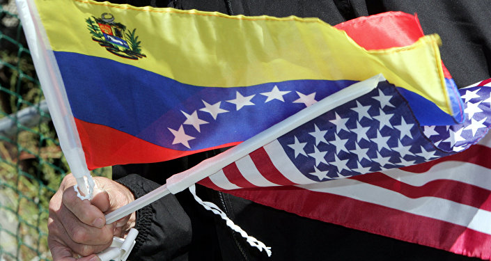 Flags of Venezuela and the USA