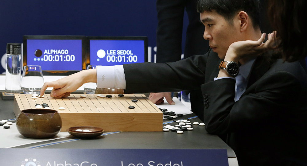 South Korean professional Go player Lee Sedol reviews the match himself after finishing the second match of the Google DeepMind Challenge Match against Google's artificial intelligence program, AlphaGo in Seoul, South Korea, Thursday, March 10, 2016