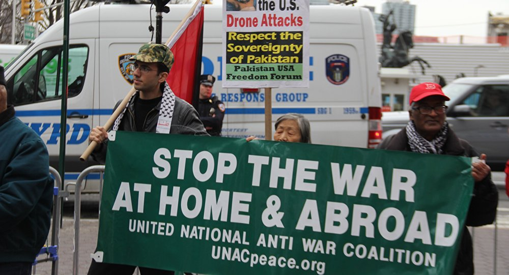 Activists call for the US to stay out of 'unjust' wars