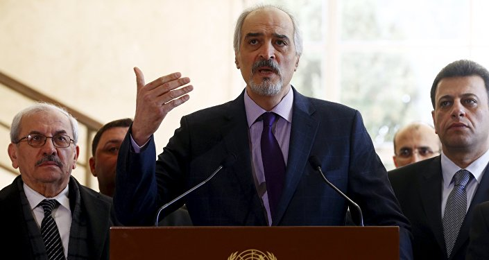 Syrian government's head of delegation, Bashar al-Jaafari speaks to media after a new round of negotiations between the U.N. with U.N. mediator for Syria Staffan de Mistura (not pictured) and Syrian government at the European headquarters of the United Nations in Geneva, Switzerland March 14, 2016