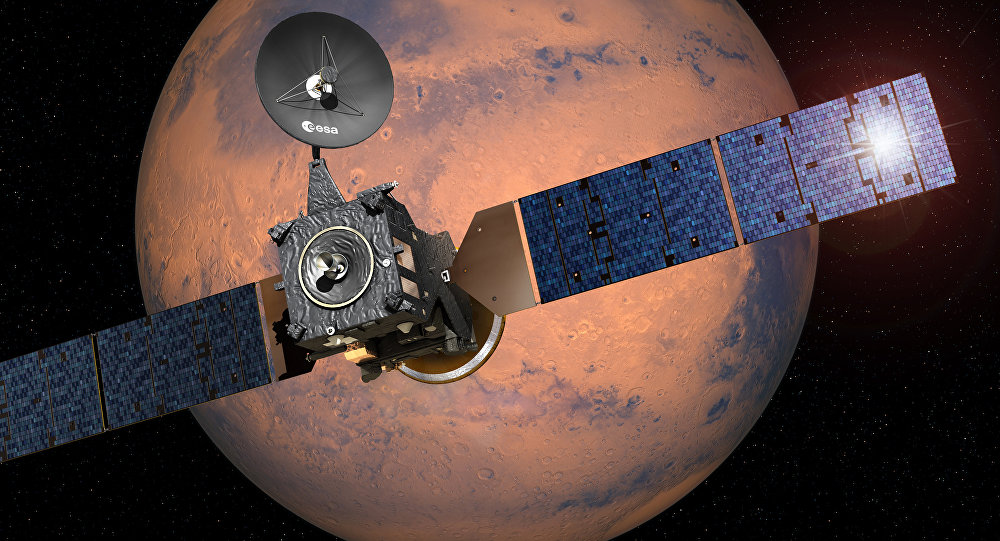 This image provided by the European Space Agency, ESA, shows an artist·s impression depicting the separation of the ExoMars 2016 entry, descent and landing demonstrator module, named Schiaparelli, from the Trace Gas Orbiter, and heading for Mars