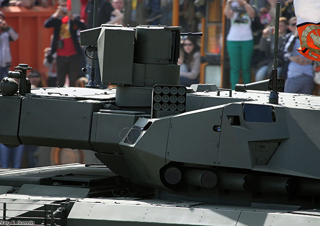 A T-14 Armata tank turret, with active protection system launch tubes visible.
